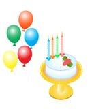 Kuchen und Ballone Lizenzfreies Stockbild