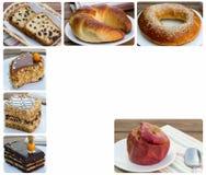 Kuchen und Bratapfel mit Hafermehl Lizenzfreies Stockbild