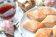 Kuchen und chinesischer Tee Stockfoto