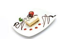 Kuchen und Erdbeere Stockfotos