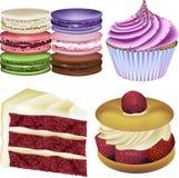 Kuchen-und Gebäck-Vektor-Illustrationen Lizenzfreies Stockfoto