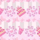 Kuchen- und Geschenkmuster Stockfoto