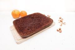 Kuchen und Haselnuss Lizenzfreies Stockbild