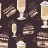 Kuchen- und Kaffeemuster Stockbild