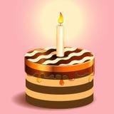 Kuchen und Kerze Lizenzfreies Stockfoto