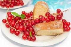 Kuchen und rote Johannisbeere 2 Lizenzfreies Stockfoto