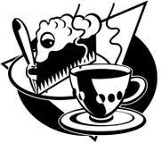 Kuchen-und Tee Karikatur-Vektor Clipart Lizenzfreies Stockfoto