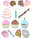 Kuchen-Zeichen-Set Lizenzfreies Stockfoto