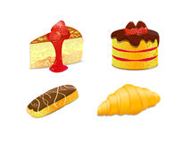 Kuchenabbildung. Ikonenset, Eclair, Hörnchen Lizenzfreies Stockfoto