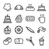 Kuchenbäckerei-Ikonensatz Lizenzfreie Stockbilder