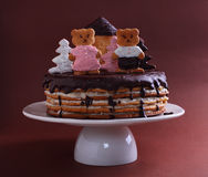 Kuchenhonigkuchen verziert mit Zahlen Stockfotografie