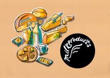 Kuchenna ilustracja menu dojni produkty ilustracja wektor