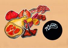 Kuchenna ilustracja menu mięśni produkty ilustracji