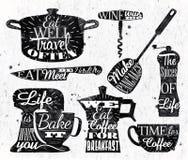Kuchenna symbolu rocznika literowania restauracja royalty ilustracja