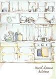 Kuchenna wewnętrzna ręka rysująca Fotografia Stock