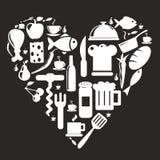 Kuchenne i karmowe ikony Zdjęcia Stock