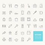 Kuchenne kontur ikony Fotografia Royalty Free