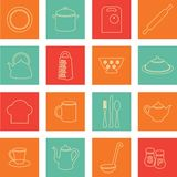 Kuchenne płaskie ikony Obrazy Royalty Free
