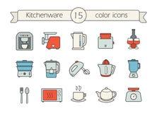 Kuchennego urządzenia koloru ikony ustawiać Zdjęcia Stock