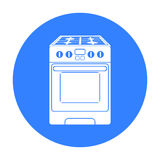 Kuchennej kuchenki ikona w czerń stylu odizolowywającym na białym tle Gospodarstwa domowego urządzenia symbolu zapasu wektoru ilu Zdjęcie Royalty Free