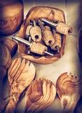 Kuchenni drewniani naczynia Zdjęcie Royalty Free