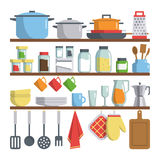 Kuchenni equipments na szelfowej ilustraci Zdjęcie Royalty Free