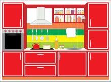 kuchenni meblarscy wnętrza royalty ilustracja