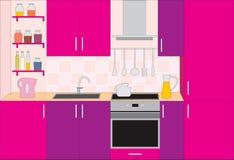 kuchenni meblarscy wnętrza ilustracji