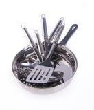 Kuchenni naczynia. kuchenny utensilson na tle Obrazy Royalty Free