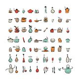Kuchenni naczynie charaktery, nakreślenie rysunku ikony Zdjęcia Royalty Free