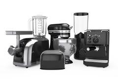 Kuchenni urządzenia ustawiający Czarny Blender, opiekacz, Kawowa maszyna, ilustracji
