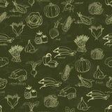 Kuchenny bezszwowy wzór z różnorodność warzywami royalty ilustracja