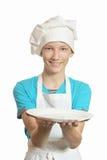 Kuchenny chłopiec przedstawień talerz Obraz Royalty Free