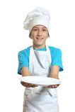 Kuchenny chłopiec przedstawień talerz Zdjęcia Stock