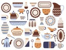 Kuchenny crockery Ceramiczny cookware, porcelan filiżanki i glassware, zgrzytamy Kuchennego tableware rzeczy wektoru odosobniony  ilustracji