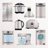 Kuchenny elektroniczny urządzenie ikony set ilustracja wektor