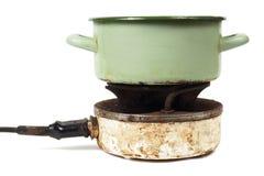 Kuchenny garnek i kuchenka Obraz Stock