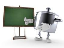 Kuchenny garnka charakter z pustym blackboard Zdjęcie Stock