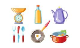 Kuchenny naczynie set, waży, butelka olej, kawowy garnek, rozwidlenie, nóż, łyżka, smaży nieckę, wektorowa ilustracja na bielu ilustracji
