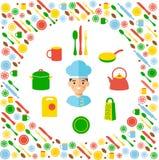 Kuchenny pojęcie z ikony tłem Obraz Stock
