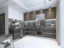 Kuchenny rówieśnik w brązie z biel ścianami i marmurowymi podłoga ilustracji