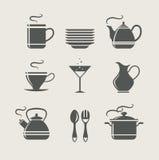 Kuchenny tableware ustawiający ikony Fotografia Royalty Free