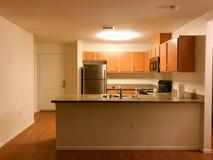 Kuchenny teren z granitów kontuarami i nowymi gabinetami Fotografia Royalty Free