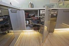 Kuchenny wewnętrznego projekta kąta spiżarni szczegół Fotografia Stock