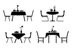 Kuchenny wewnętrzny czarny i biały ikona set Stołowy i krzesło cukierniany projekta piktogram ilustracji