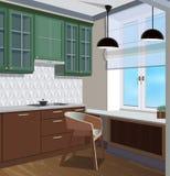 Kuchenny wewnętrzny tło z meble Projekt nowożytna kuchnia Kuchenna ilustracja obrazy royalty free