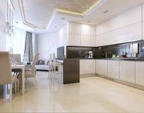 Kuchenny wnętrze, nowożytny styl Zdjęcie Royalty Free