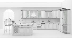 Kuchenny wnętrze w klasyka stylu siatki 3D renderingu ilustracja wektor