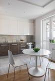 Kuchenny wnętrze w nowożytnym mieszkaniu w scandinavian stylu Fotografia Royalty Free