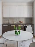 Kuchenny wnętrze w nowożytnym mieszkaniu w scandinavian stylu Obrazy Stock